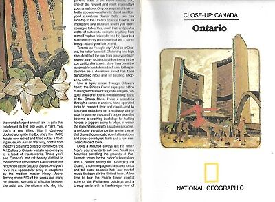 National Geographic Society Close Up Canada Ontario 1978 Map Guide