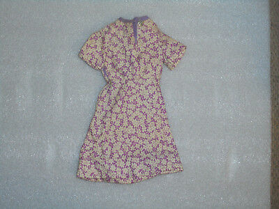 Vintage Doll Clothes 1940s 1950s Purple Floral Dress