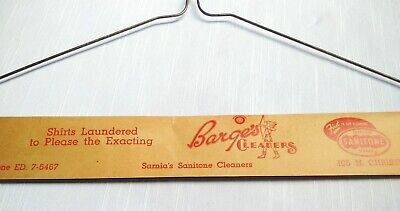 Vintage Barge's Dry Cleaners Advertising Clothing Coat Hanger SANITONE SERVICE