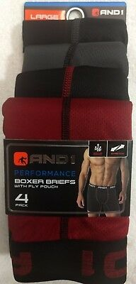 AND1 Men's Performance Boxer Briefs 4-Pack Black/Grey/Red Large ANM181PB04003