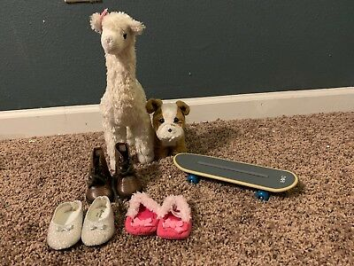 American Girl Doll Chrissa's Llama (RETIRED) and Pitbull + Skateboard w/ shoes