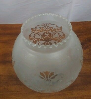 "Vintage Oil Kerosene Lamp Chimney Etched Glass Globe 2"" fitter"