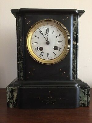 Antique green and black marble mantle clock