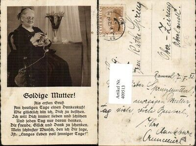 409513,Muttertag Alte Frau m. Brille b. Stricken Goldige Mutter Text