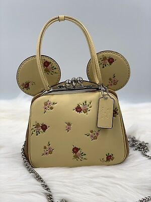 eef8464fcb NWT KISSLOCK BAG WITH FLORAL MIX PRINT AND MINNIE MOUSE EARS F29351 Vanilla