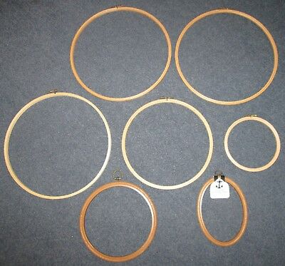 Job lot of 7 wooden embroidery hoops and plastic wood-effect embroidery frames
