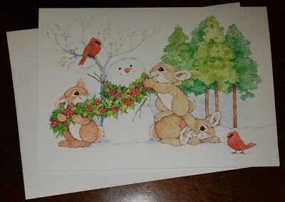 Darling Christmas Card w/envelope, Bunnies building a Snowman