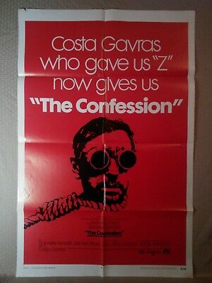 "Vintage 1 Sheet ""The Confession"" Movie Poster 27x41 Large Costa Gavras 1970"
