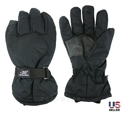 Mens Winter Thermal Thinsulated Waterproof Sport Snow Ski Utility Gloves Black