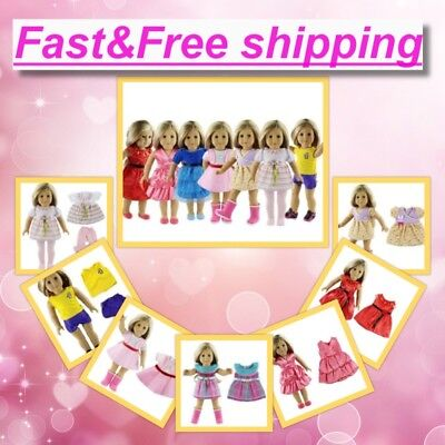 18 Inch 7 Outfits Clothes for American Girl Doll Accessories Set Lot Bday Gift