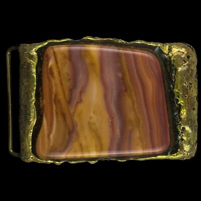 Vtg Modernist Brutalist Agate Gemstone Hippie Studio Art Brass 70s Belt Buckle
