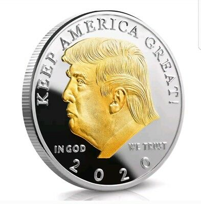 Donald Trump 2020 Gold on Silver coin Keep America Great