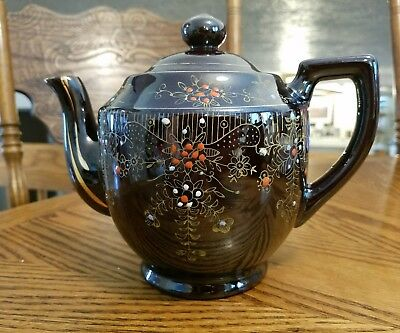 Vintage Brown Ceramic Teapot With Handpainted Floral Design Made In Japan