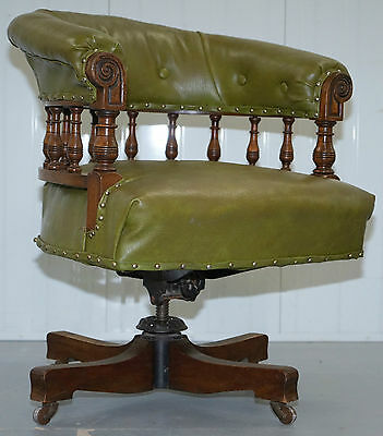 Rare & Genuine Victorian Circa 1860 Chesterfield Buttoned Captains Office Chair