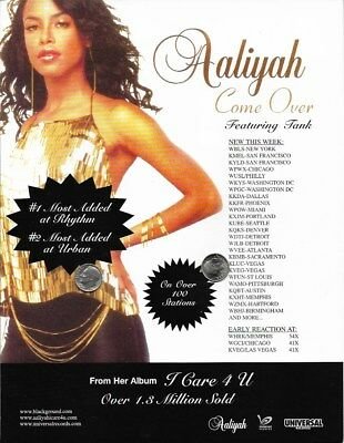 Aaliyah Original Trade Magazine Advertisement Rare! Come Over