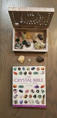 THE CRYSTAL BIBLE by Judy Hall (Paperback, 2003) w/ 15 crystals & a crystal box