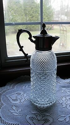 Italian Beautiful Ornate Italian Silver plate Glass Pitcher Wine Decanter 13 x 7