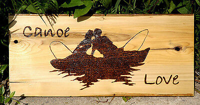 Canoe Love Couple Kissing Sign: One Of A Kind Woodburning On Reclaimed Wood