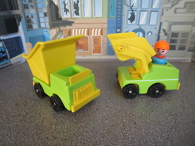 Vintage Fisher Price Little People Construction Worker  Loader And Dump Truck