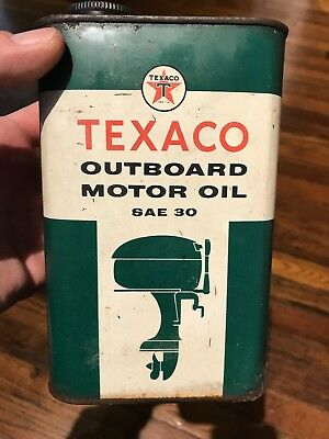 BOAT MOTOR GRAPHIC  Vintage TEXACO OUTBOARD MOTOR OIL Old 1 qt Metal Can old