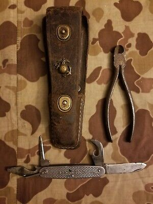 WW2 Marine Corps Lineman Tool Pouch EGA USMC Knife Wire Cutters 1st Raiders ID'd