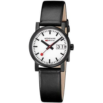 Mondaine Women's Evo 30mm Black Leather Band Quartz Watch A6693030561SBB