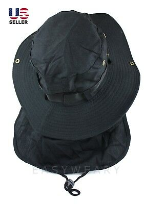 247a85b0450d4 Boonie Neck Flap Cover Hat Fishing Sun Protection Wide Brim Bucket Cap Black