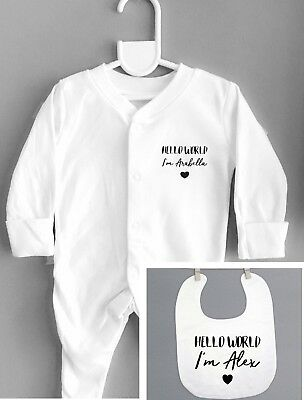 Funky PERSONALISED 'HELLO WORLD' Unisex babygrow sleepsuit and bib set baby gift