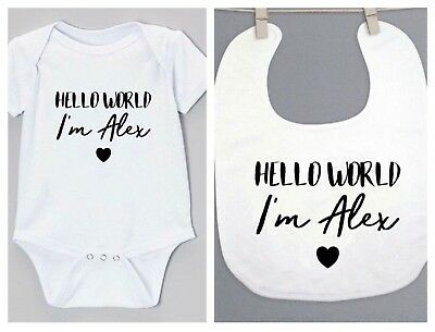 Funky PERSONALISED 'HELLO WORLD' Unisex baby clothing babygrow vest & bib gift
