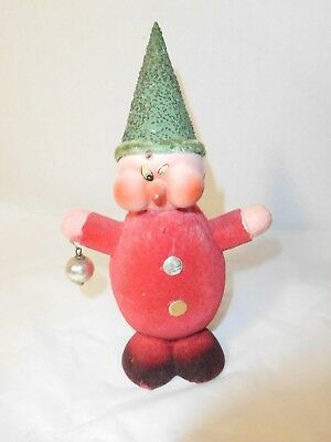 Vintage Christmas Elf Dwarf Paper Mache Flocked for Candy Germany 6.5 In.