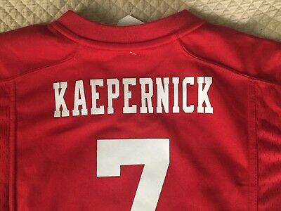 41ca9c502 Kids  San Francisco 49ers Colin Kaepernick Jersey NFL Red Nike On Field Size  M
