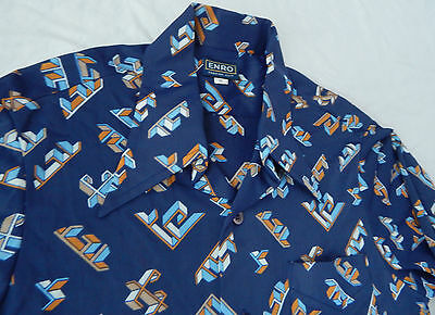 Blue Geometric Long Sleeve Casual Shirt - Medium Mens Psychedelic Vtg Enro M