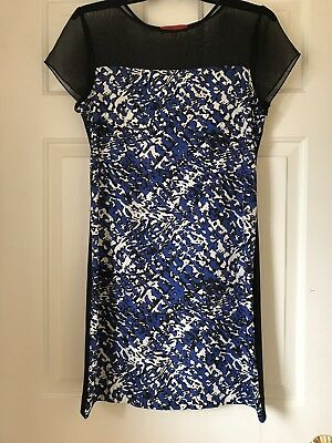 7e30346e3e54 Red Saks Fifth Avenue Womens Size Small Black And Blue Patterned Dress