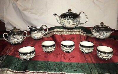 Vintage Hand Painted Kutani Moriage Dragonware Tea Set