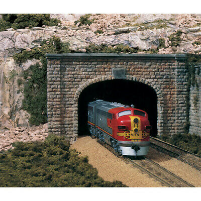 Two N Scale Double Track Cut Stone Tunnel Portals #C1157 Woodlands