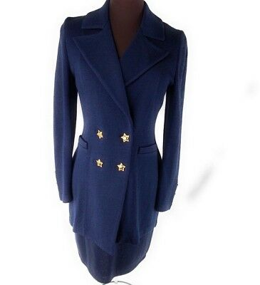 St John Size 2 Collection Marie Gray Blue Wool Knit Ladies Designer Skirt Suit