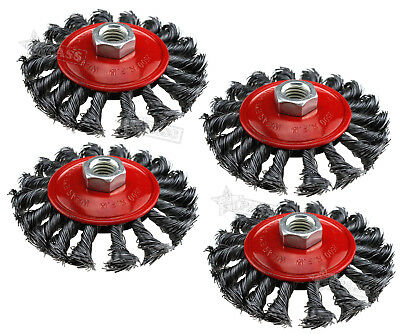 4PCS M14 Crew Twist Knot Wire Wheel Cup Brush Set for 4 inch Angle Grinder