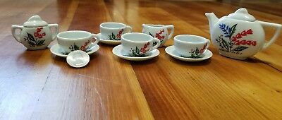 Miniature Japanese Tea Set 13 Pieces Hand Painted Vintage