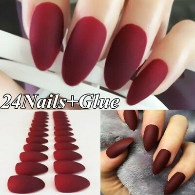 Matte 24pcs Fake False Nail Tips Extension Manicure Art Press On Nails w/ Glue