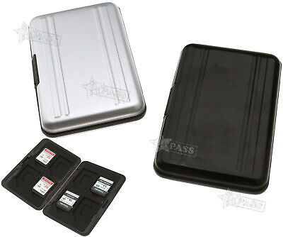 8 in 1 Memory Card Case SD SDHC Storage Carrying Box Holder Protect Silver/Black