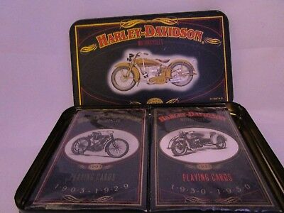 2 Decks Harley Davidson Motorcycles Collector Tin Playing Cards New & Sealed