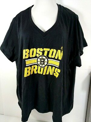 7ec1f57e249 Majestic Boston Bruins T-Shirt NHL Women Size 3X Black Short Sleeve V-Neck