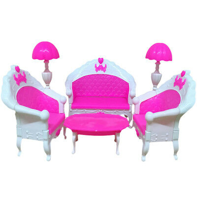 US 6Pcs Furniture Living Room Parlour Sofa Chair Set for Dollhouse Kid Gift