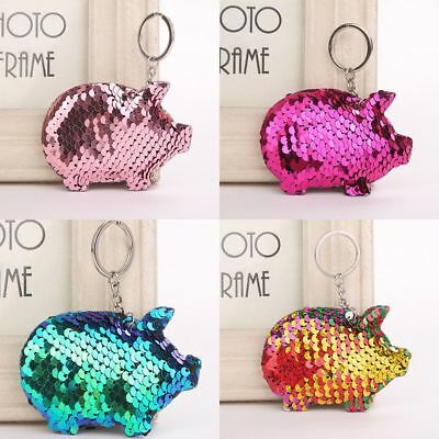 Pig Keychain Glitter Pompom Sequins Key Chain Gifts Car Bag Accessories Hot