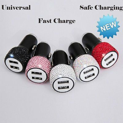 Universal 2 in 1 Fast Charging Car Charger Dual USB Port Diamond Adapter Charger