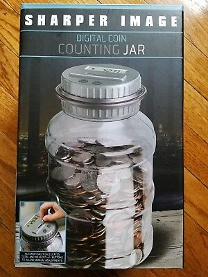 Sharper Image Black Digital Counting Coin Money Electronic Jar Piggy
