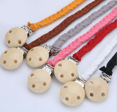 Baby Infant Leather Toddler Dummy Pacifier Soother Nipple Shield Chain Clip