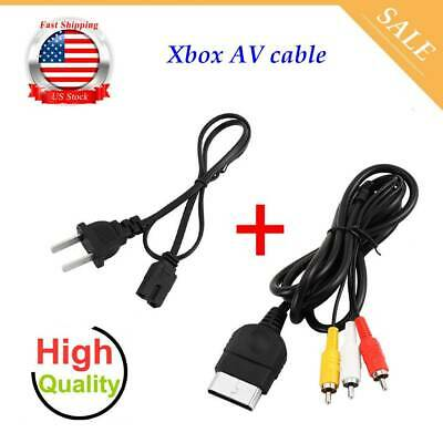 AV Cable & AC Power Cord XBOX Original (A/V Audio Video, Adapter Supply) US