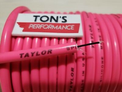 8mm PINK silicone SUPPRESSION CORE SPIRAL WOUND  SPARK PLUG WIRE foot TAYLOR