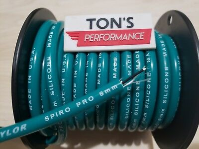 8mm Teal silicone SUPPRESSION CORE SPIRAL WOUND  SPARK PLUG WIRE foot TAYLOR